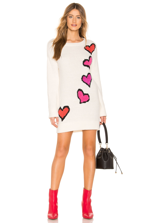 Lovers + Friends Heart Stopper Sweater in Ivory & Red