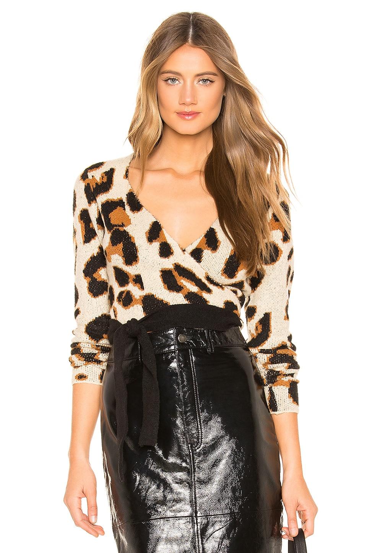 Lovers + Friends Leopard Wrap Sweater in Leopard