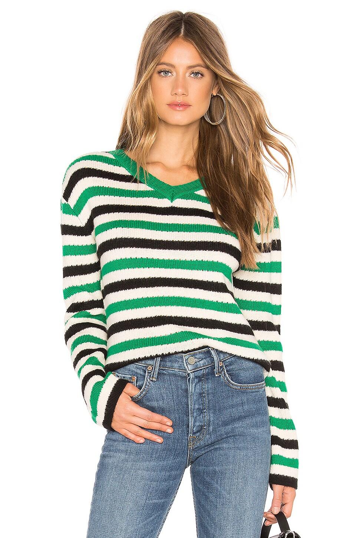 Lovers + Friends Rock N Roll Sweater in Green Stripe