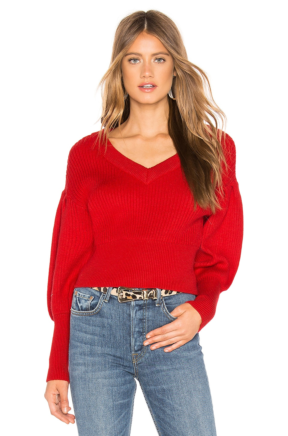 Lovers + Friends Dash Sweater in Red