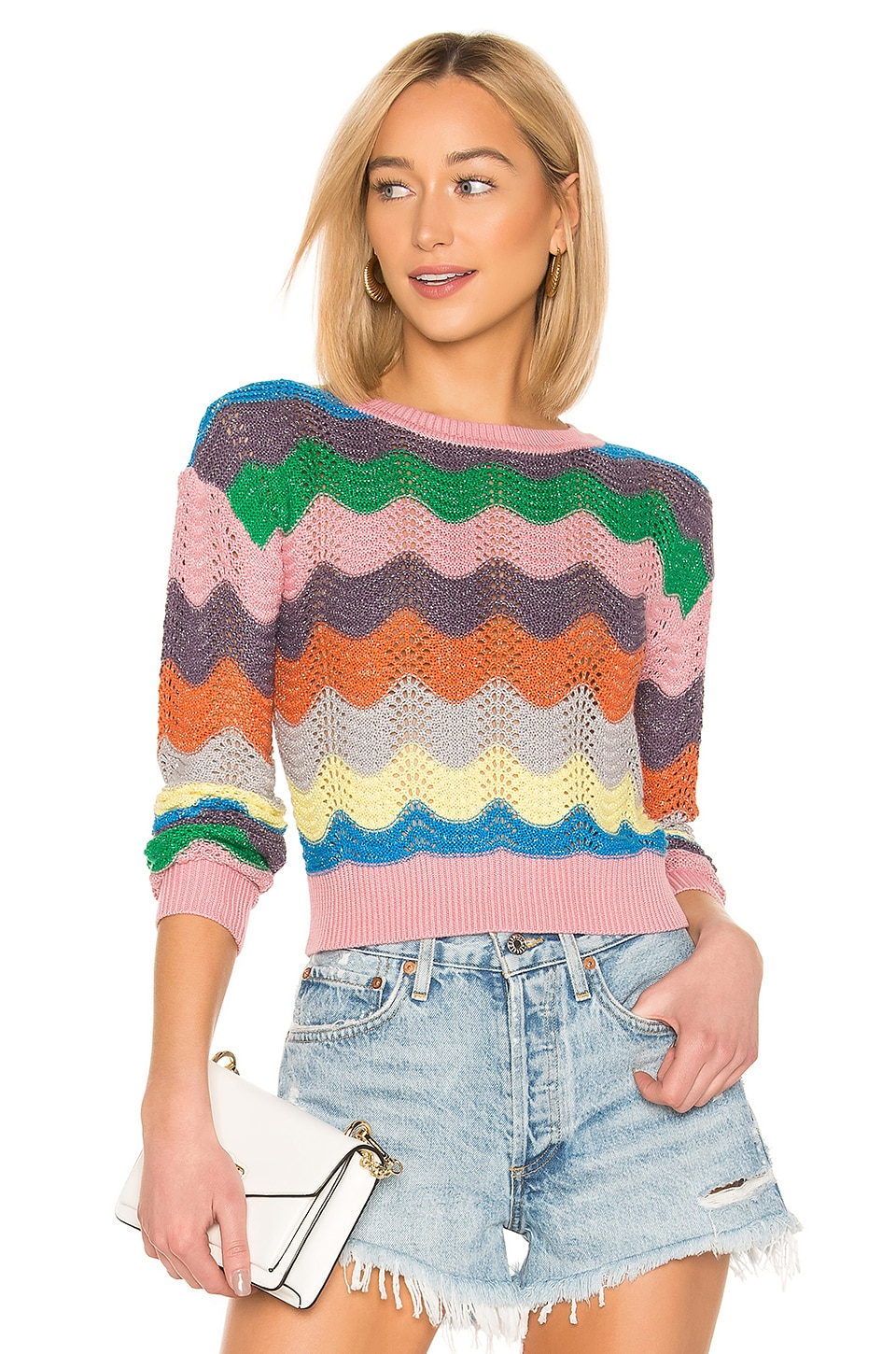 Lovers + Friends You Rock Pullover in Rainbow