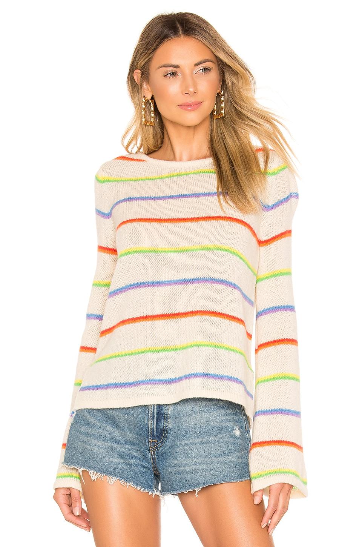 Lovers + Friends Toto Sweater in Ivory Rainbow Stripe