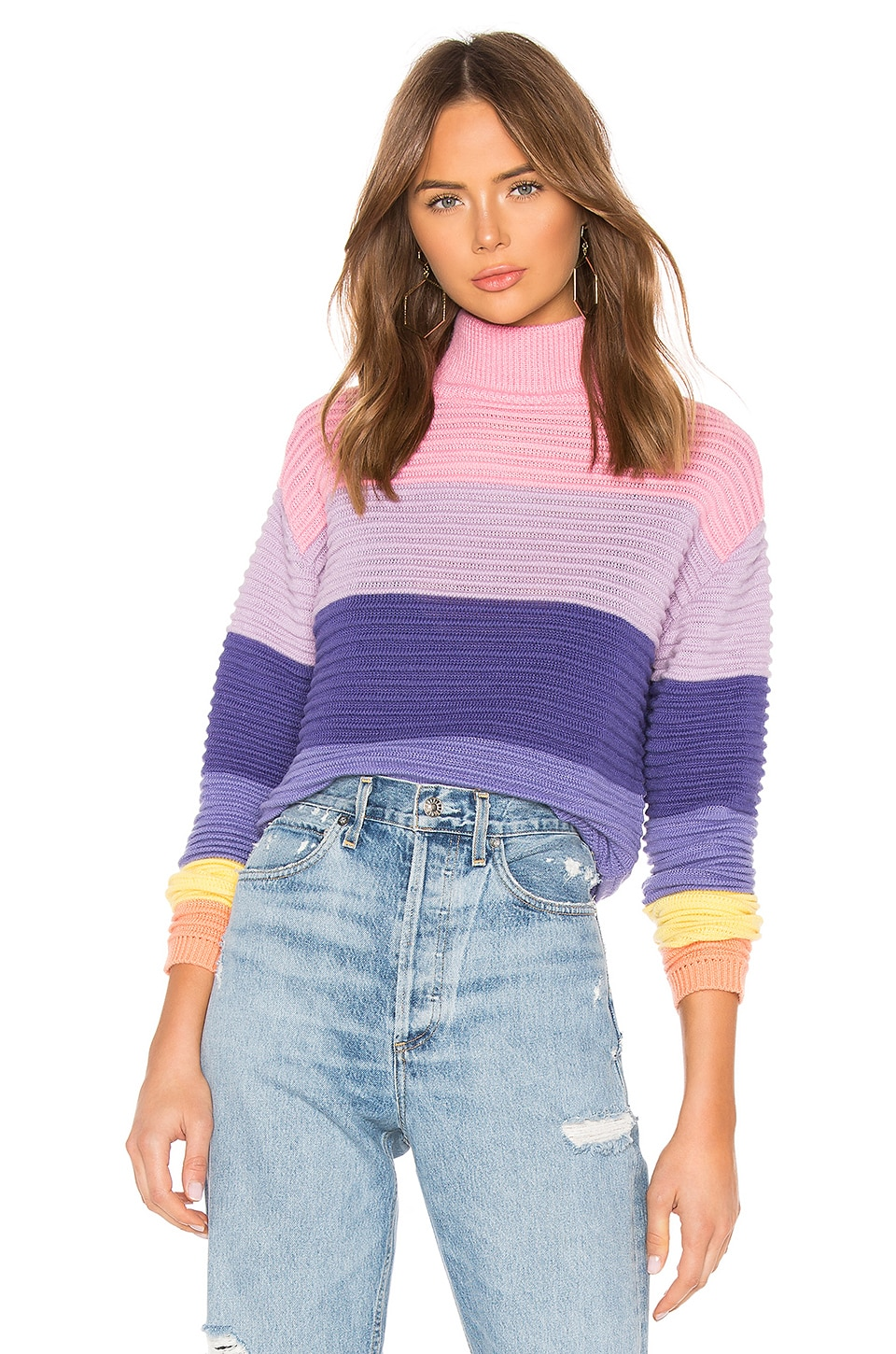 Lovers + Friends Unicorn Crop Sweater in Bubblegum Stripe