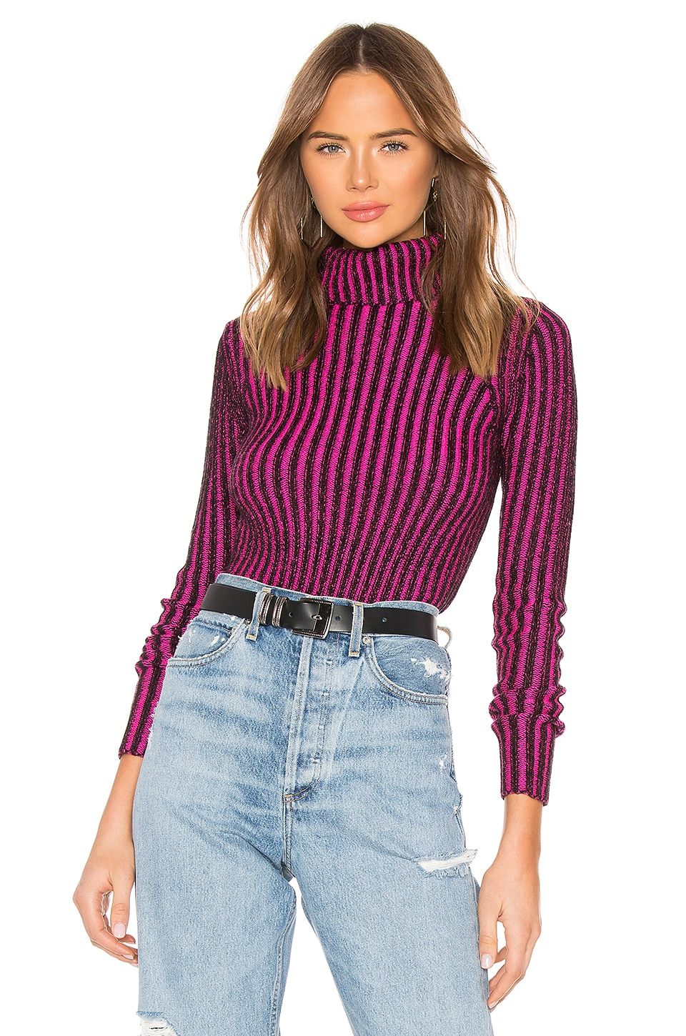 Lovers + Friends Tempo Sweater in Black & Magenta