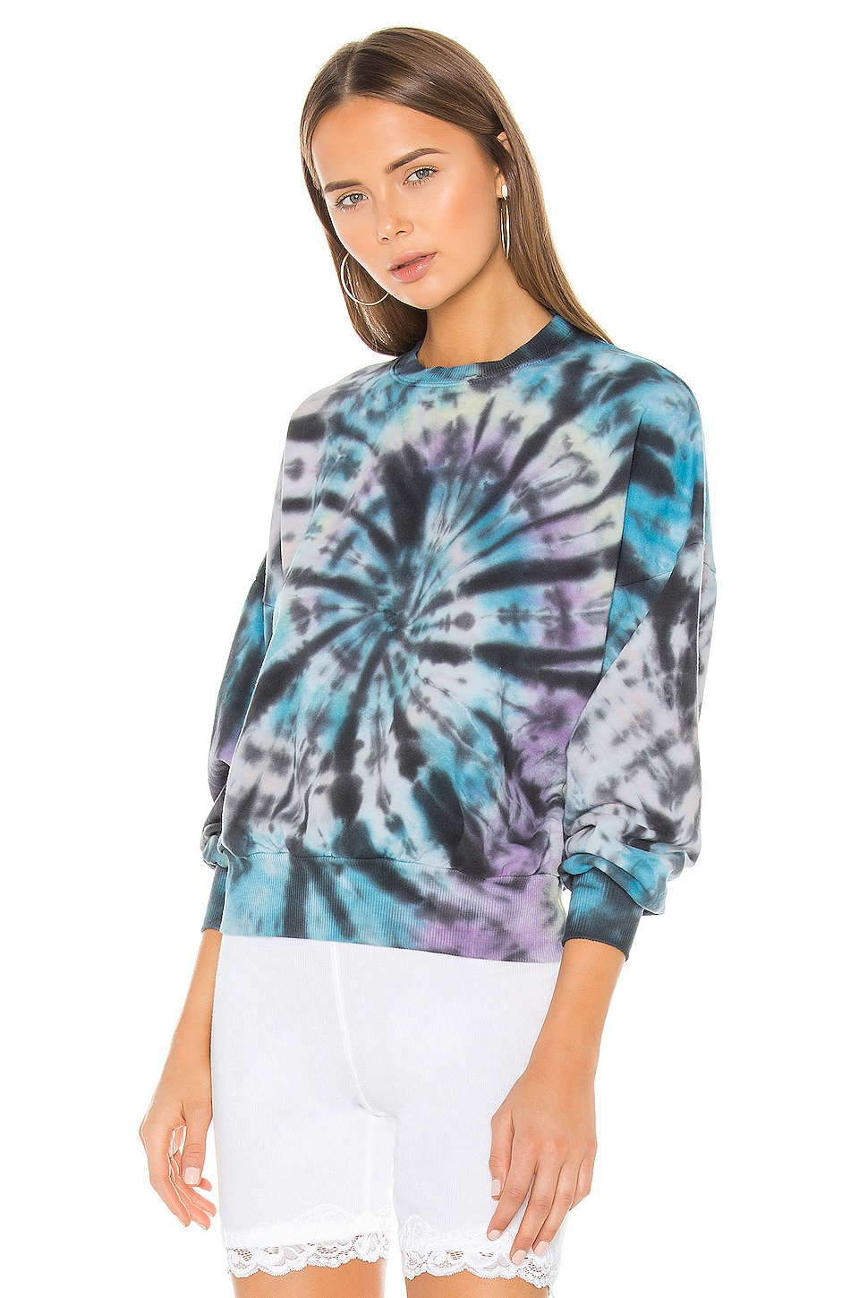 Lovers + Friends Tie Dye Pullover in Black Swirl