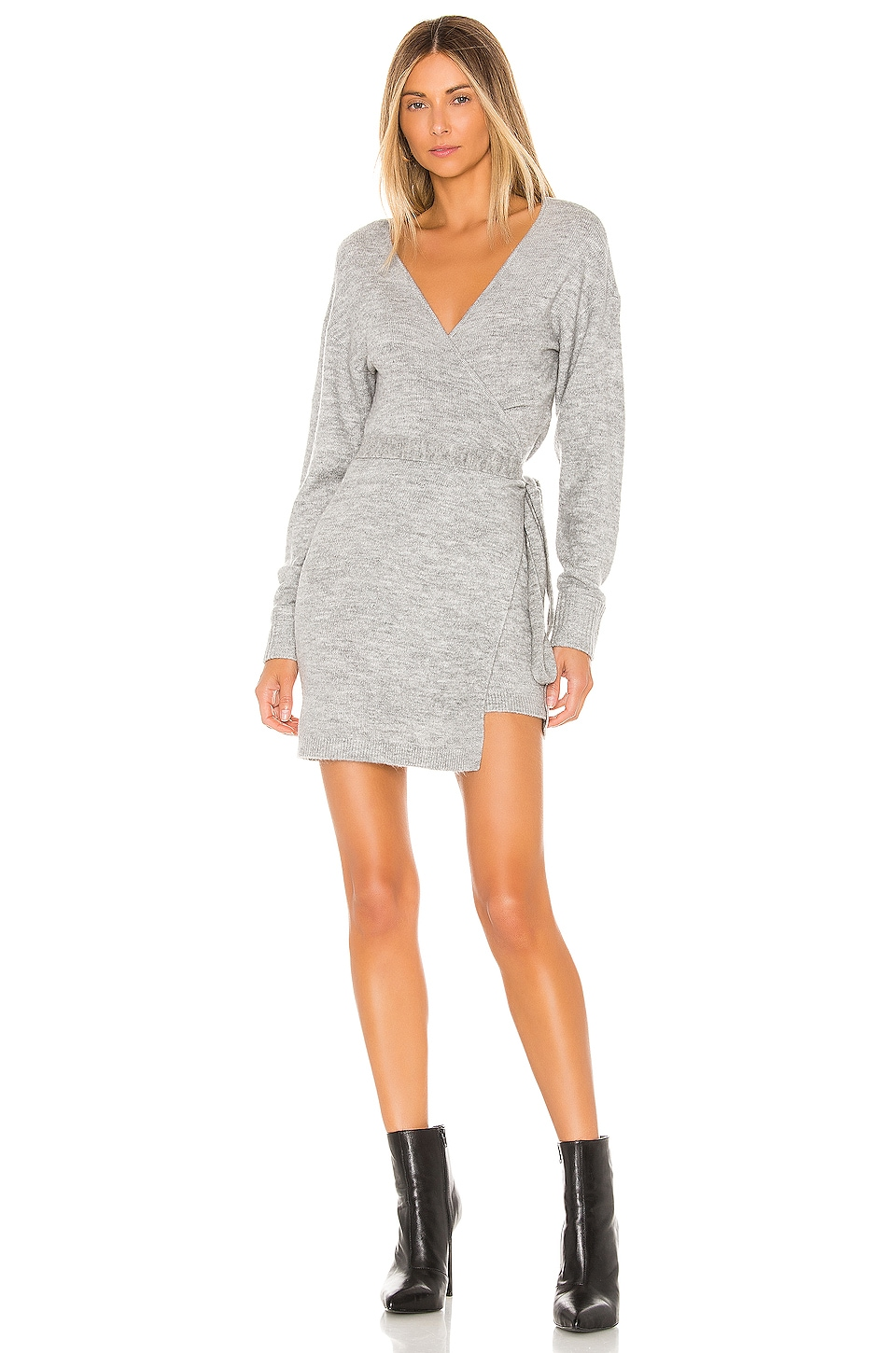 Lovers + Friends Aimilita Wrap Sweater in Ash Grey