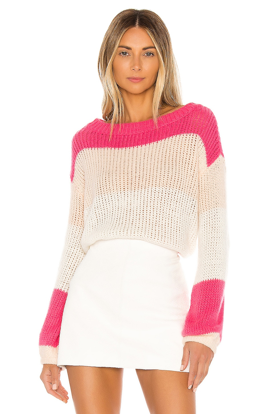 Lovers + Friends Lynn Sweater in Rose Pink Stripe