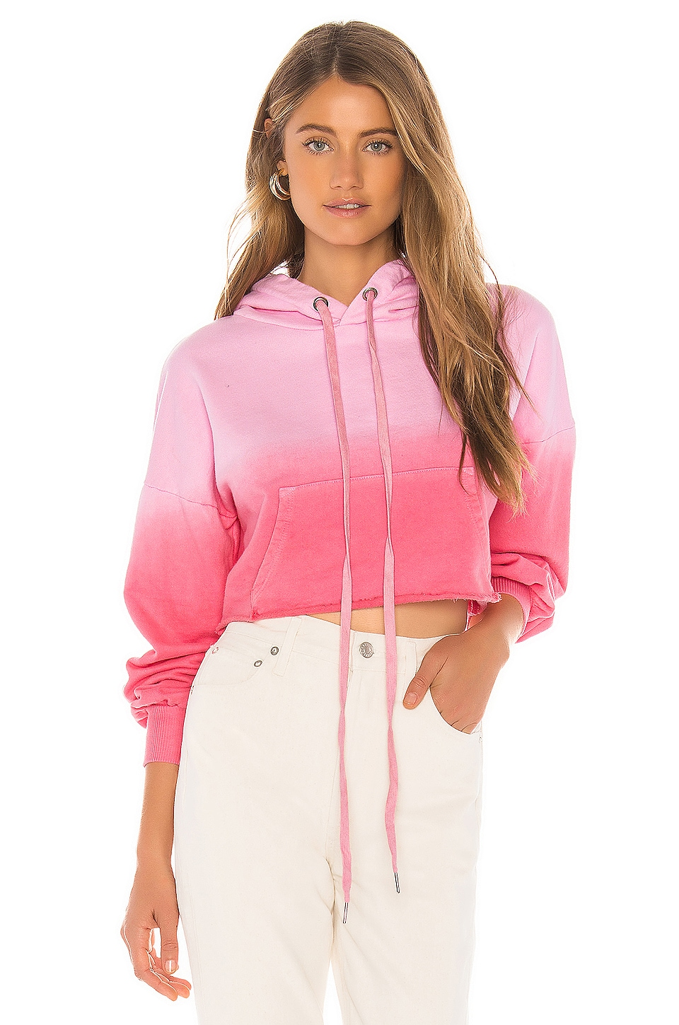 Lovers + Friends Sammy Cropped Hoodie in Pink Ombre