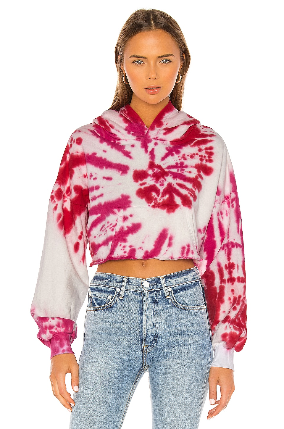 Lovers + Friends Tie Dye Crop Hoodie in Pink Swirl