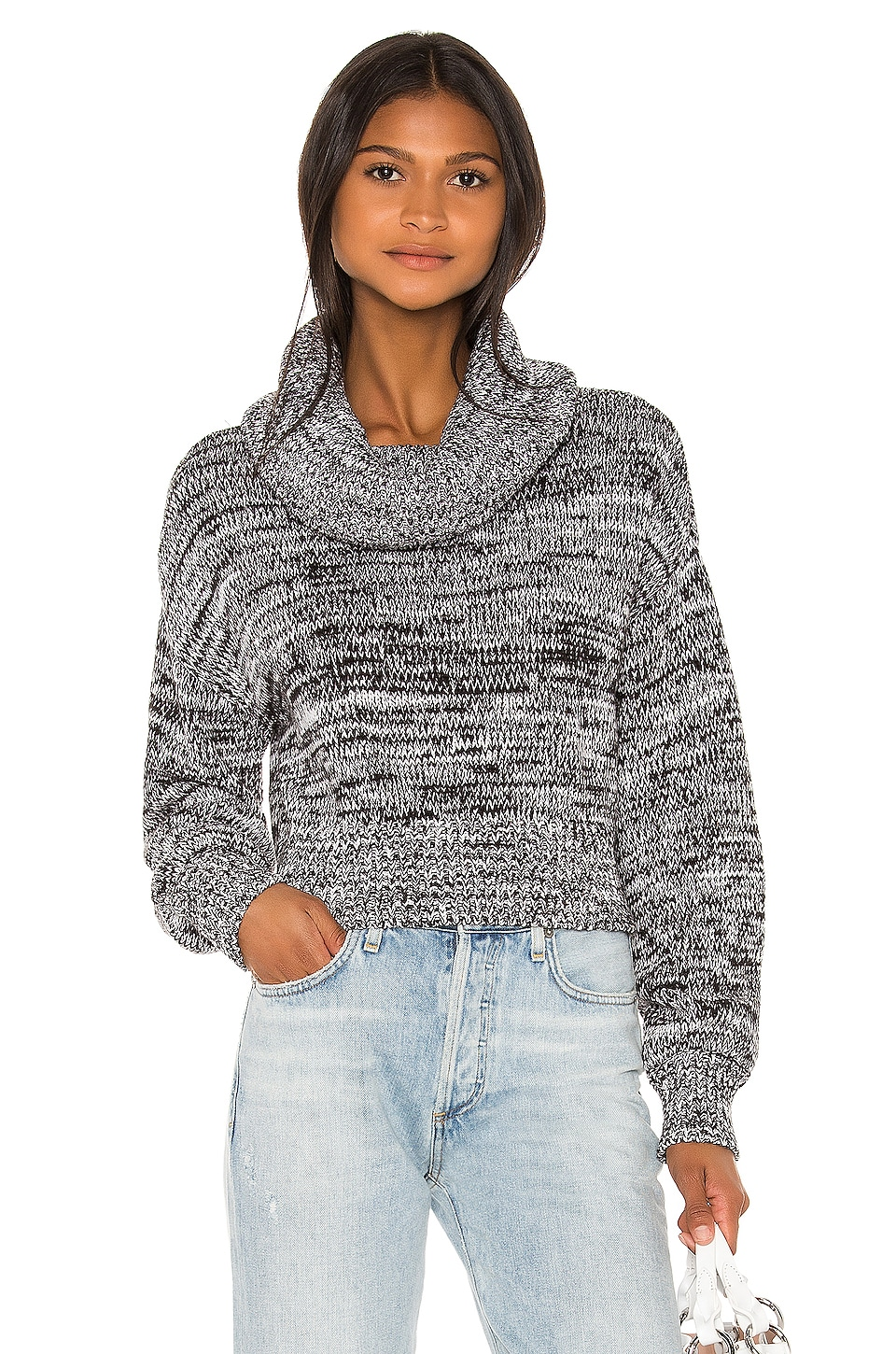 Lovers + Friends Paislee Pullover in Black & White