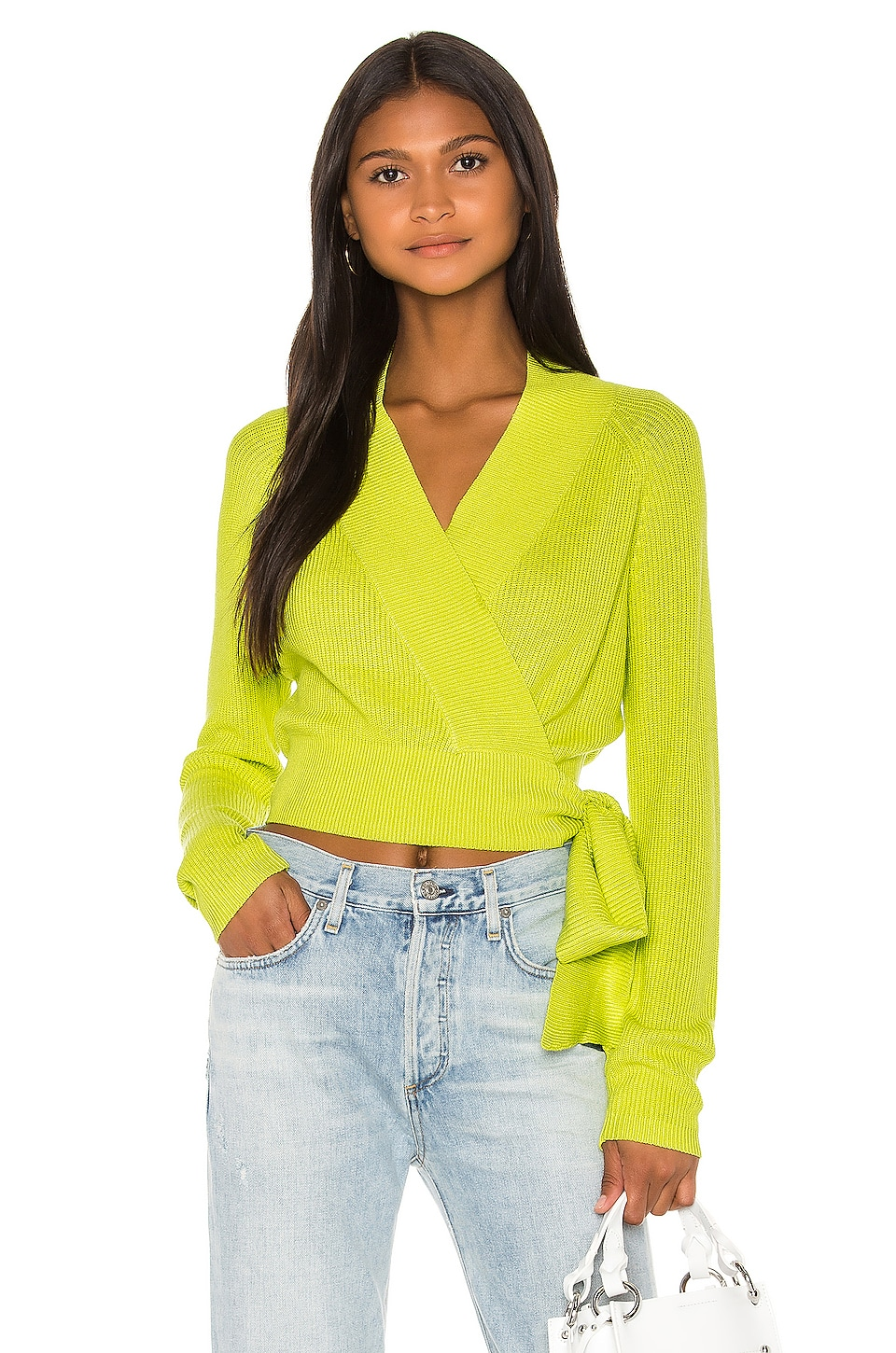 Lovers + Friends Kai Wrap Sweater in Lime Green