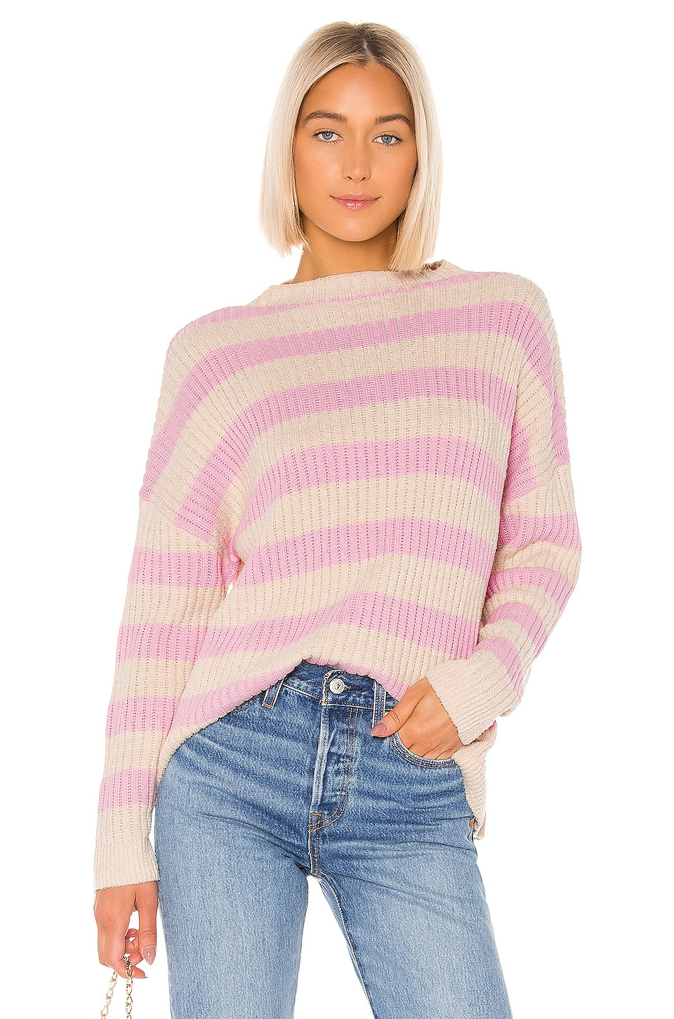 Lovers + Friends Candice Sweater in Tan & Pink Stripe