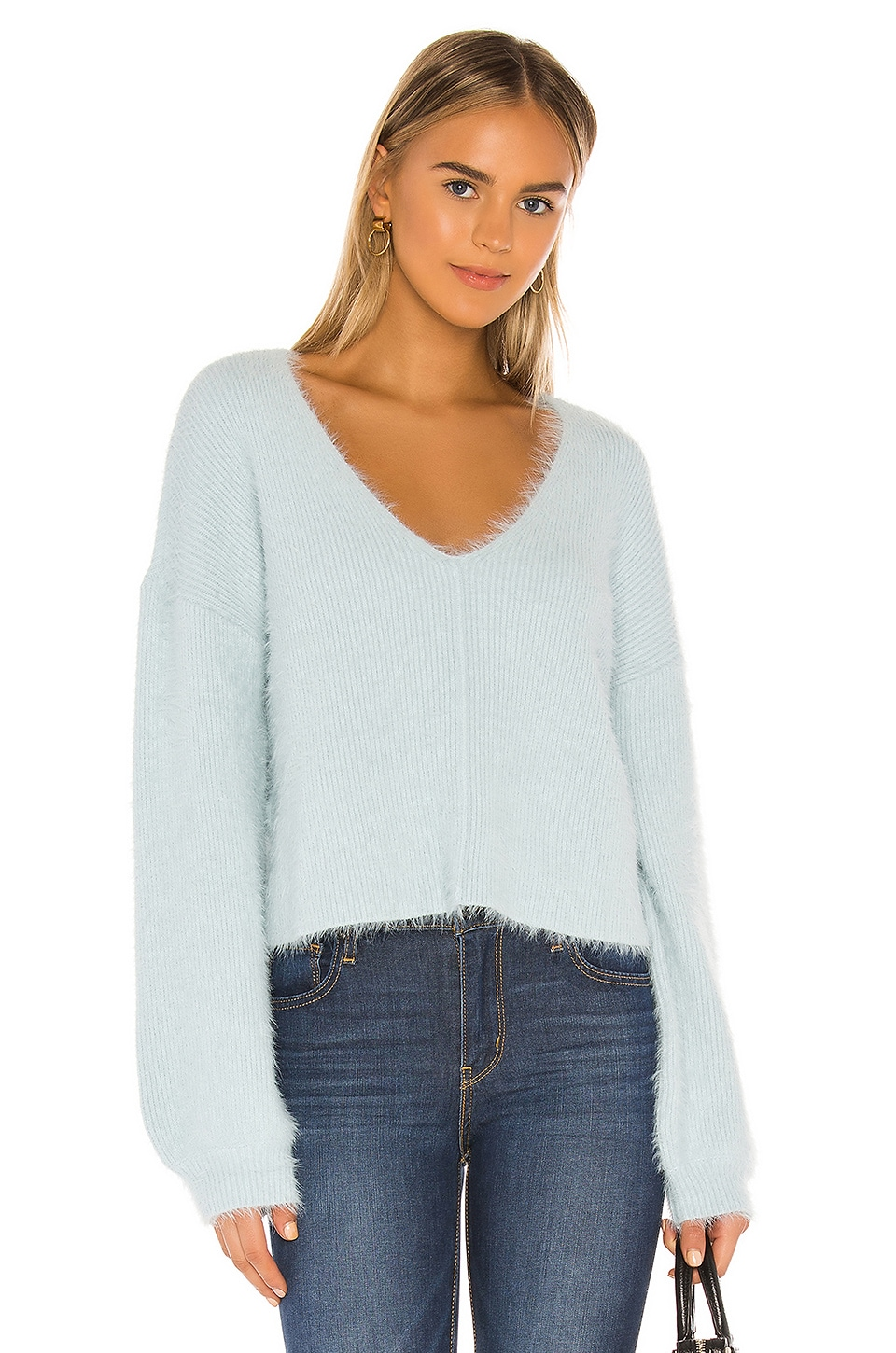 Lovers + Friends Malia V Neck Sweater in Baby Blue