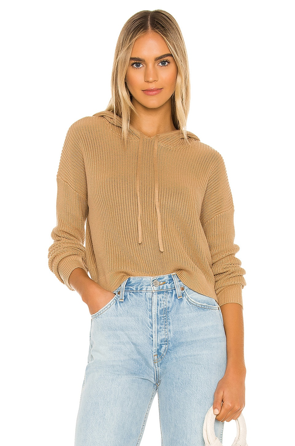 Lovers + Friends Griffith Knit Hoodie in Camel