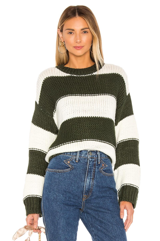 Lovers + Friends Ryan Sweater in Green & Ivory Stripe