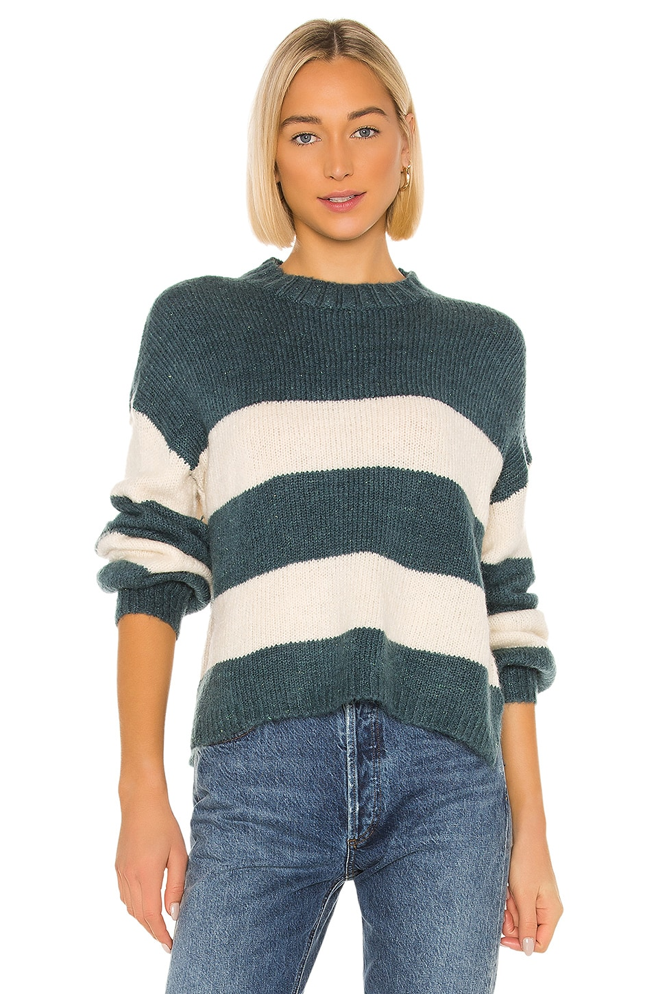Lovers + Friends Mimi Long Sleeve Sweater in Blue & White