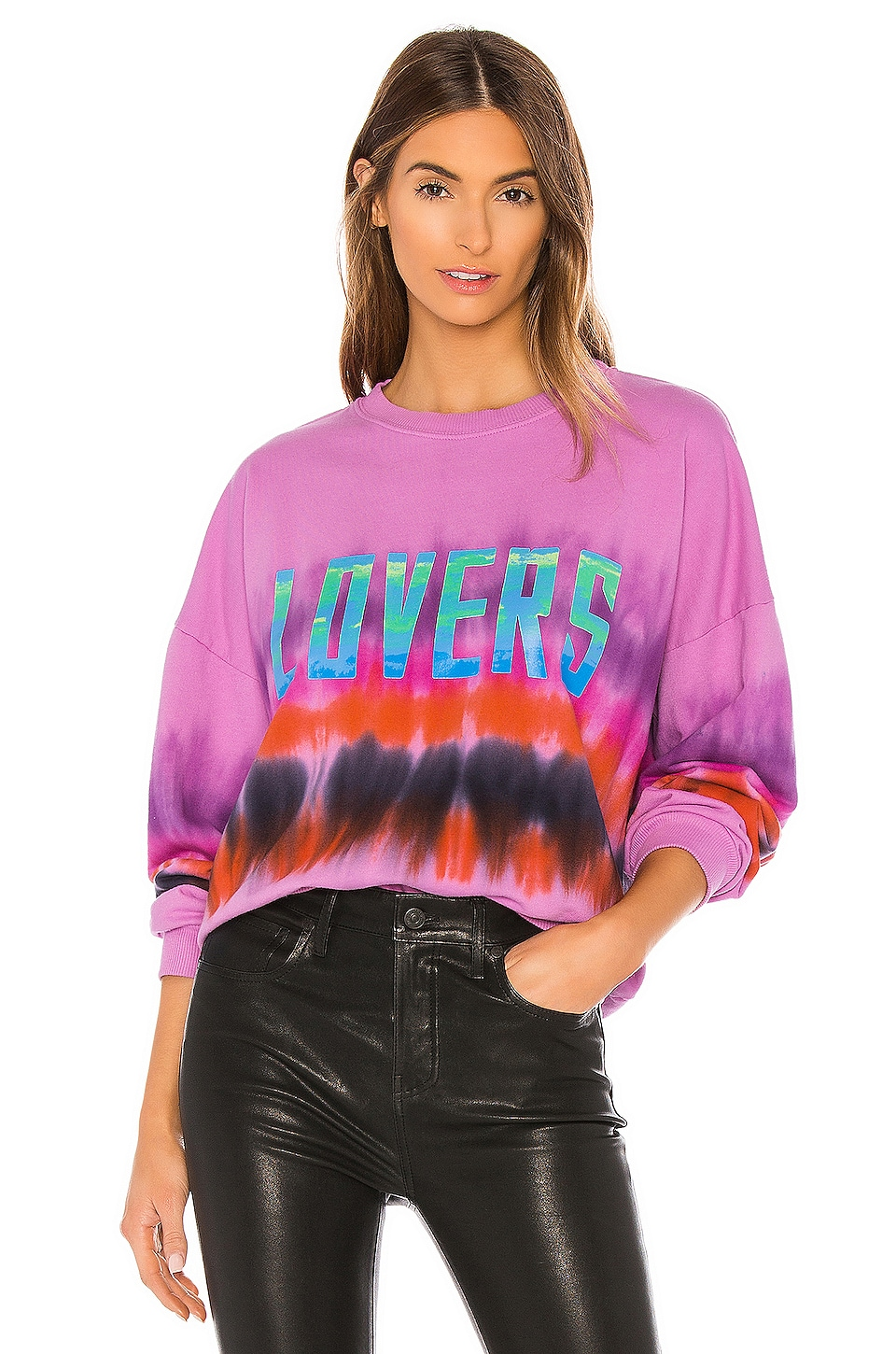 Lovers + Friends Lovers Bowery Sweatshirt in Pink Tie Dye