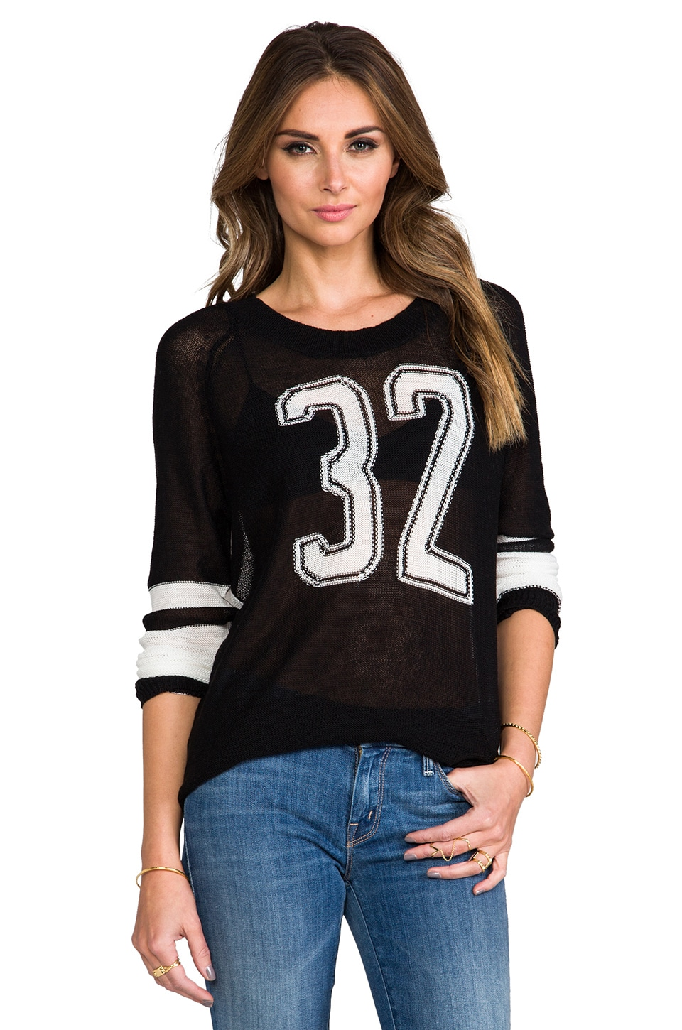 Lovers + Friends Lovers + Friends for REVOLVE Runningback Sweater in Black & Off White