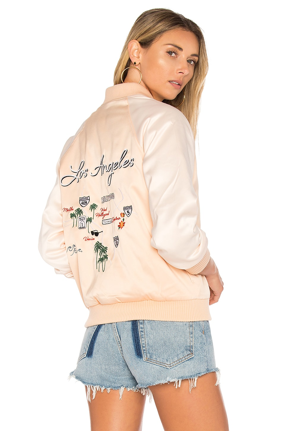 Lovers + Friends x REVOLVE Roadtrippin Bomber in Champagne