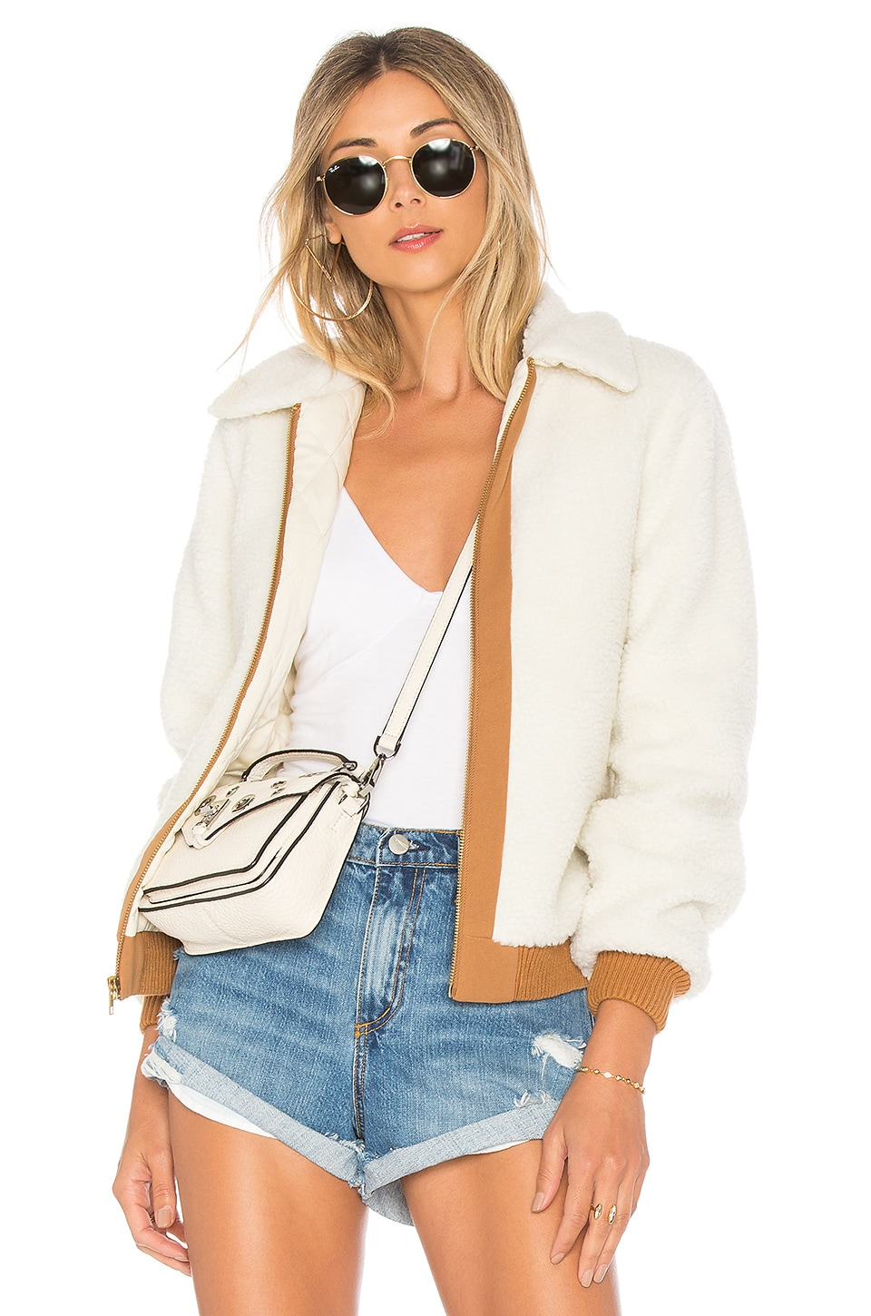 Lovers + Friends Simone Faux Fur Jacket in Ivory