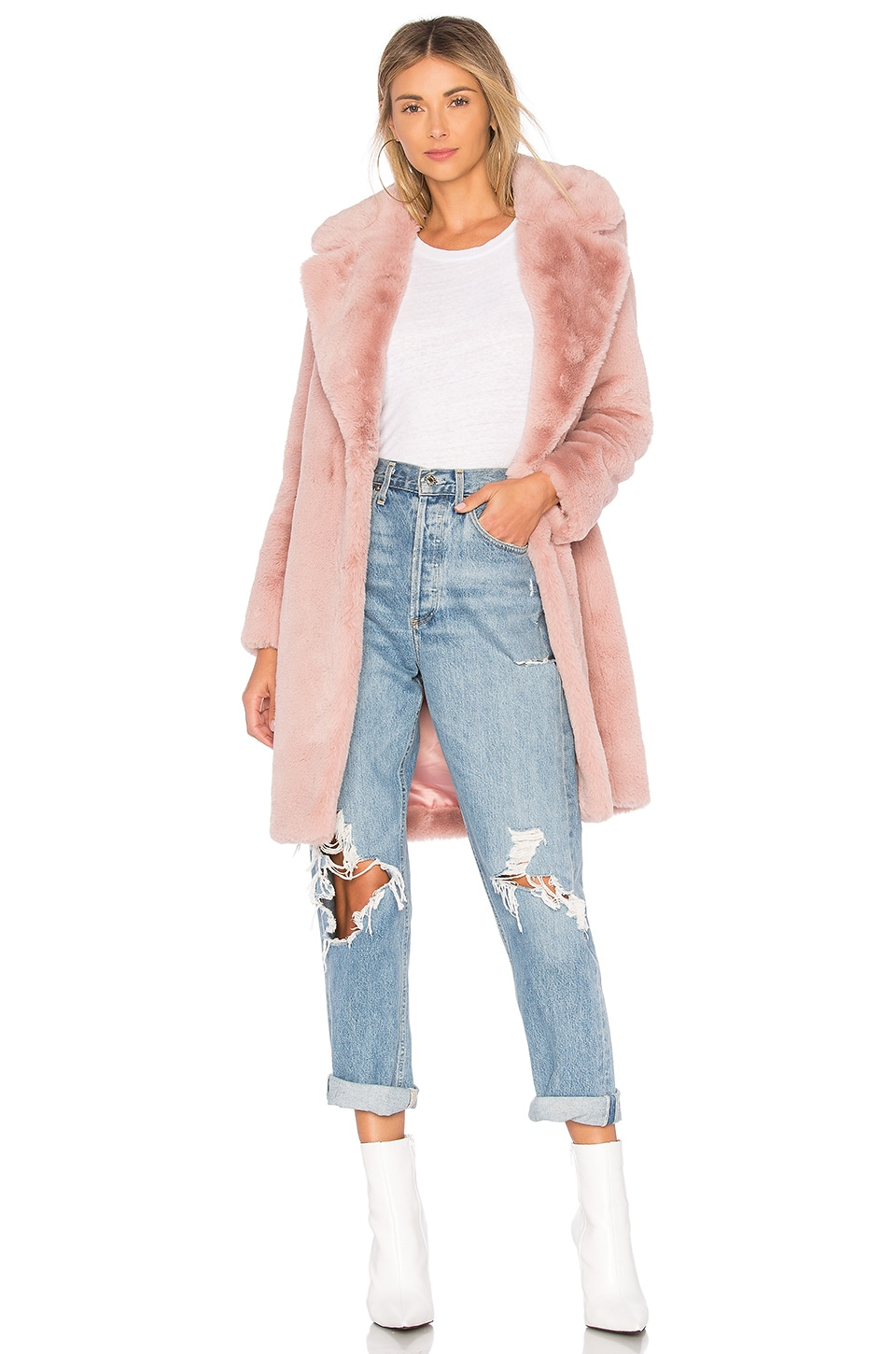 Lovers + Friends Romy Faux Fur Coat in Flush