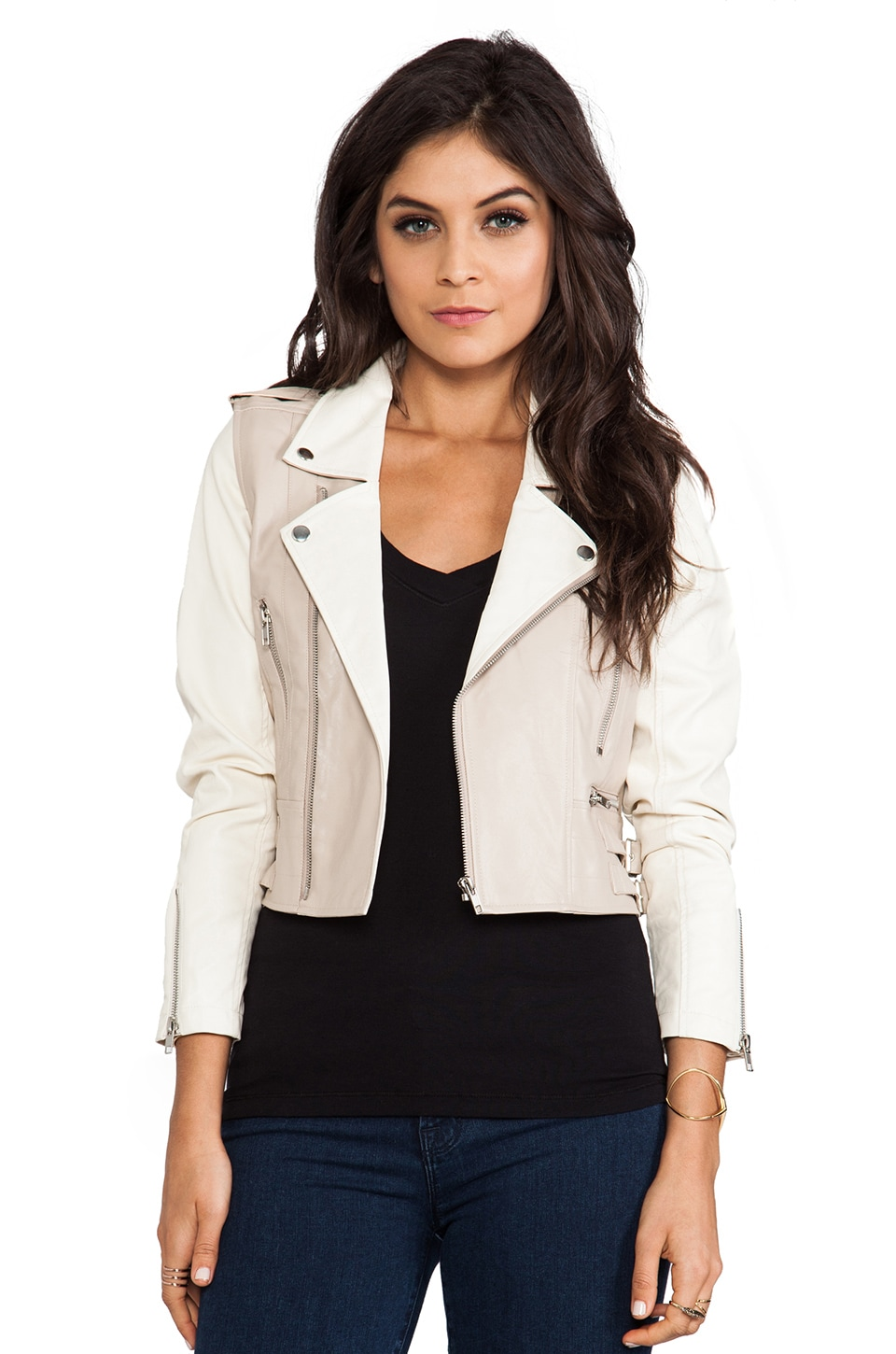 Lovers + Friends Moto Jacket in Nude