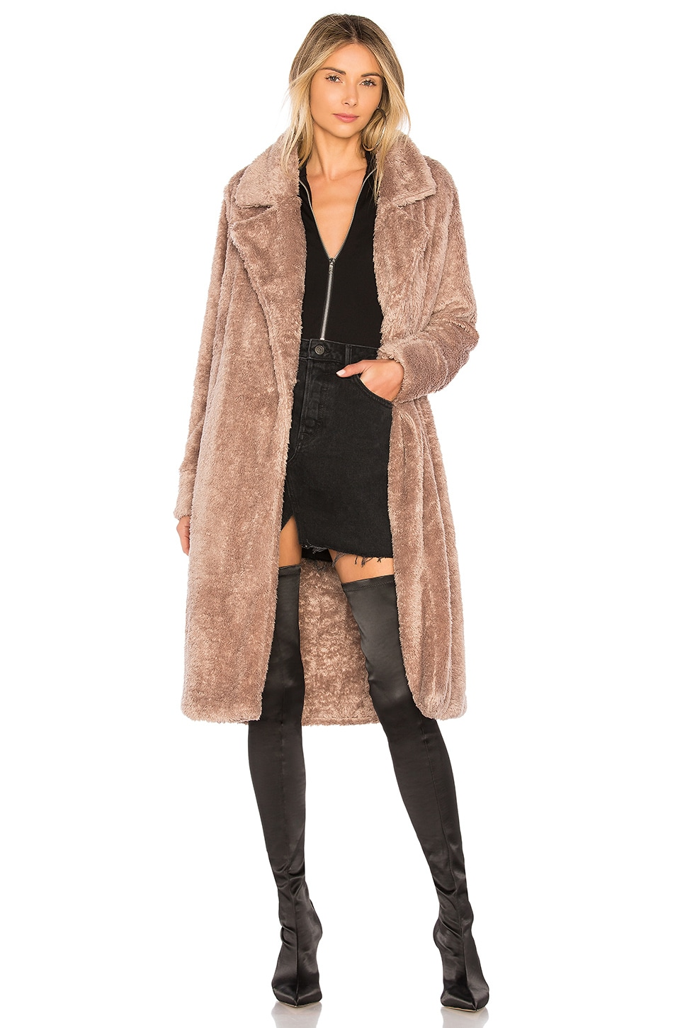 Lovers + Friends Teddy Fur Coat in Rival