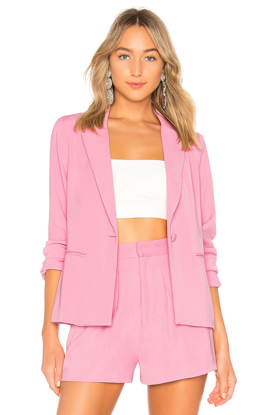Lovers + Friends Be By My Side Blazer in Baby Pink