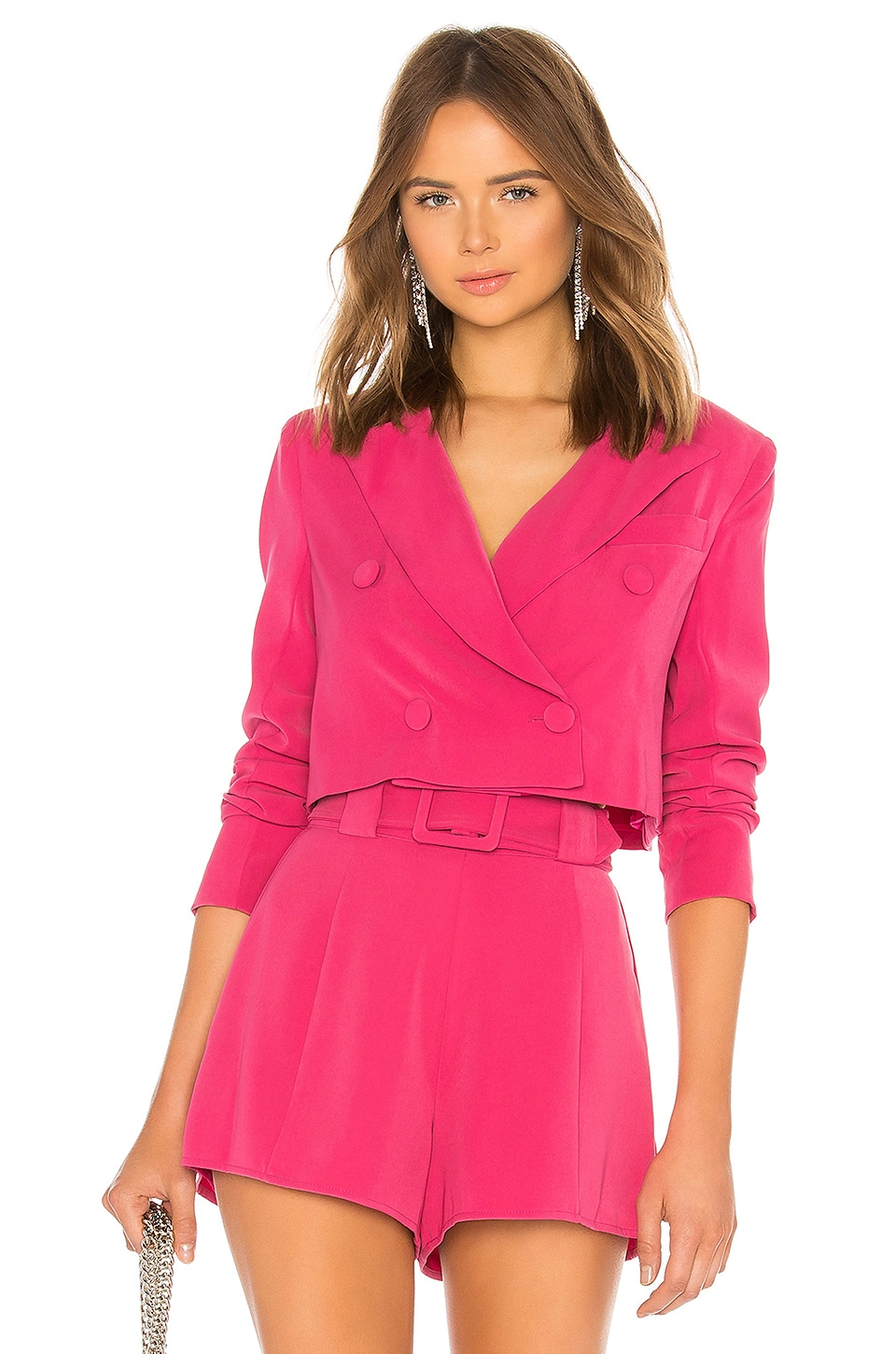 Lovers + Friends City Cropped Blazer in Magenta Pink