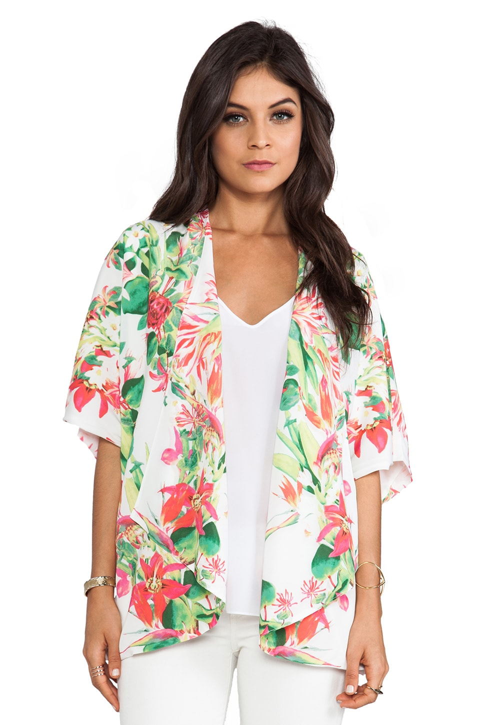 Lovers + Friends Lovebirds Kimono in Tropical White