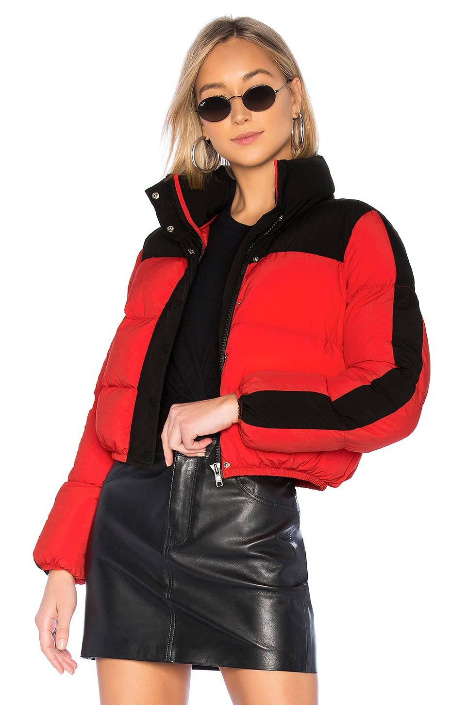 Lovers + Friends Drive Puffer Jacket in Red & Black