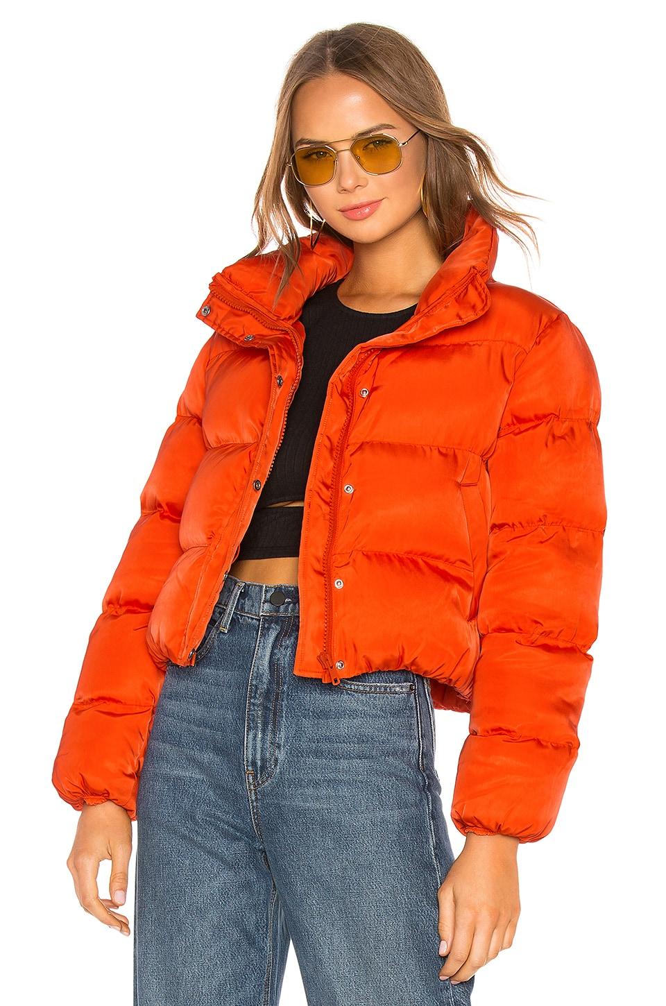 Lovers + Friends Starburst Puffer Jacket in Orange