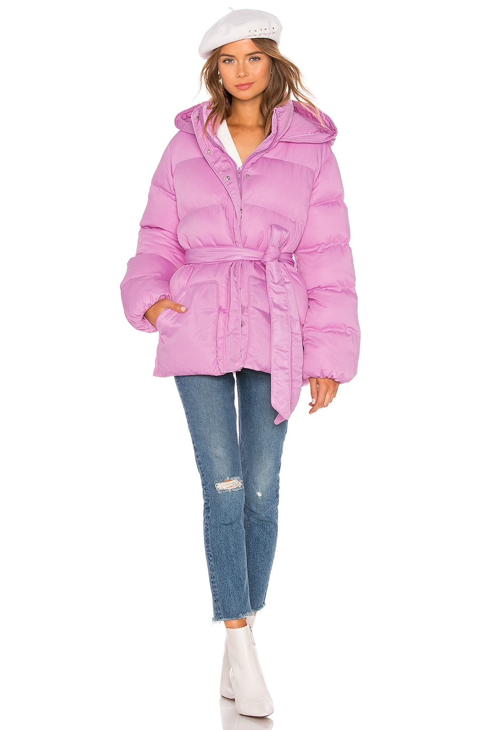 Lovers + Friends Lindsey Belted Puffer Jacket in Bubblegum Pink