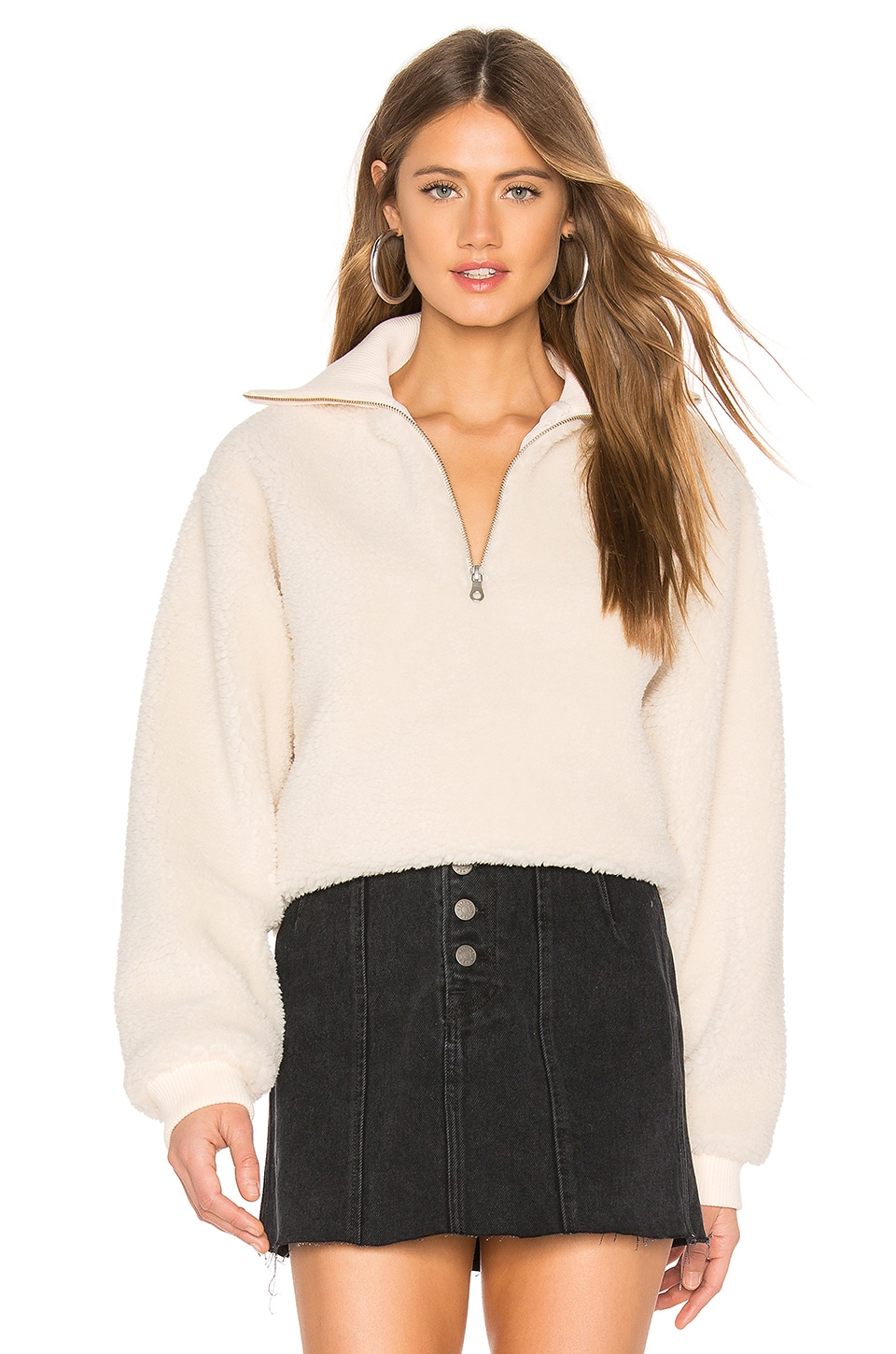 Lovers + Friends Jamey Zip Pullover in Creme Brulee