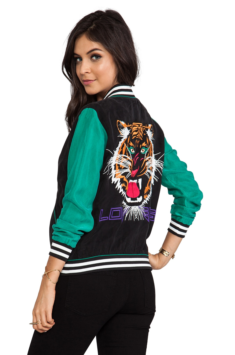 Lovers + Friends Can't Wait Baseball Jacket in Black/Wildcat
