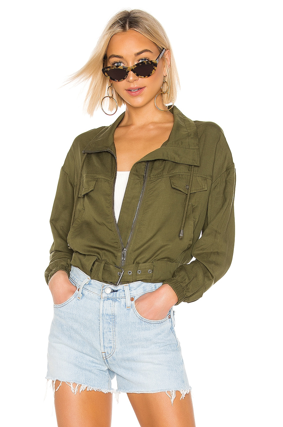 Lovers + Friends Finley Jacket in Army Green