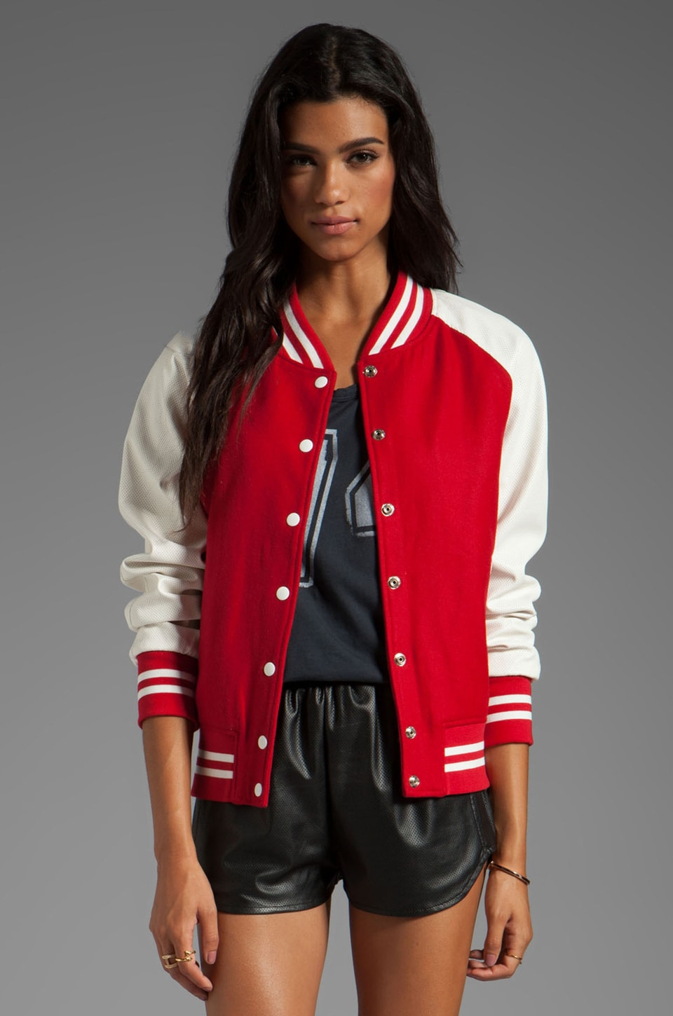 Lovers + Friends for REVOLVE Varsity Jacket in Red