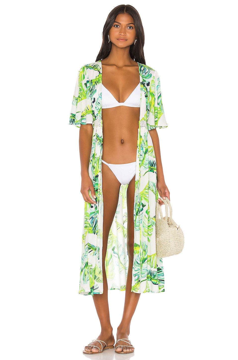 Lovers + Friends Sunday Brunch Robe in Jungle Palms