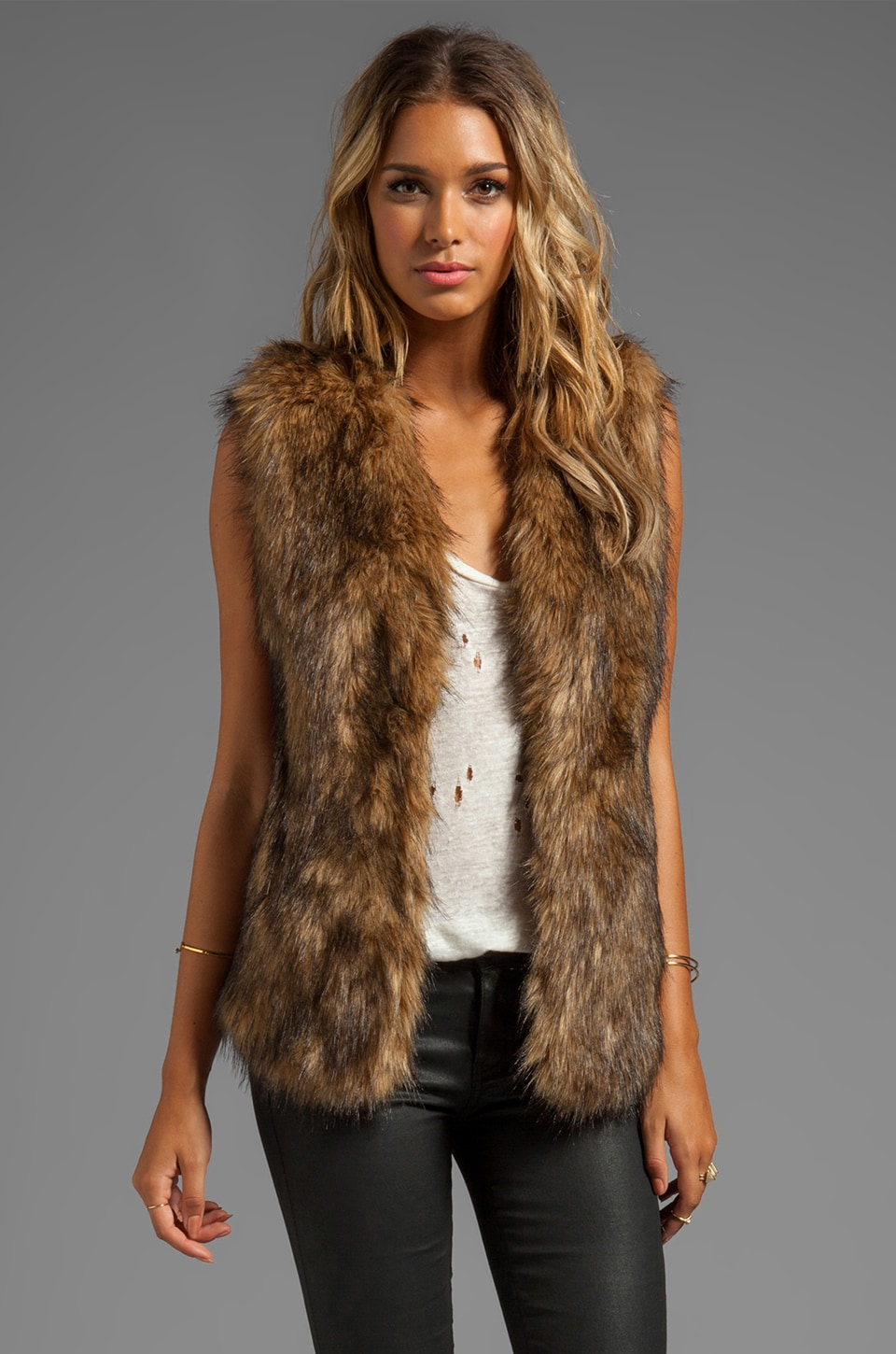 Lovers + Friends Vixen Vest in Faux Fur