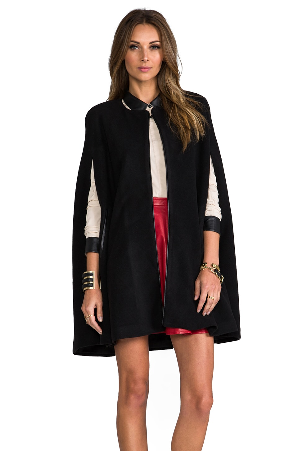 Lovers + Friends Florence Wool Cape w/ Leather Piping in Black