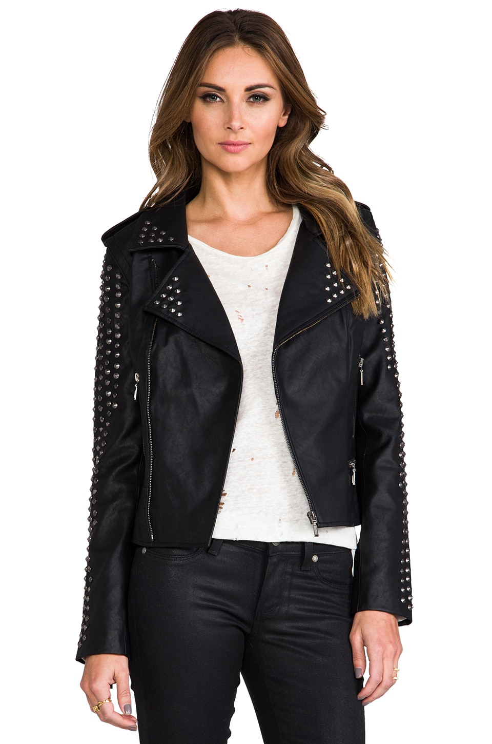 Lovers + Friends REVOLVE Exclusive Rhona Embellished Vegan Leather Jacket in Black