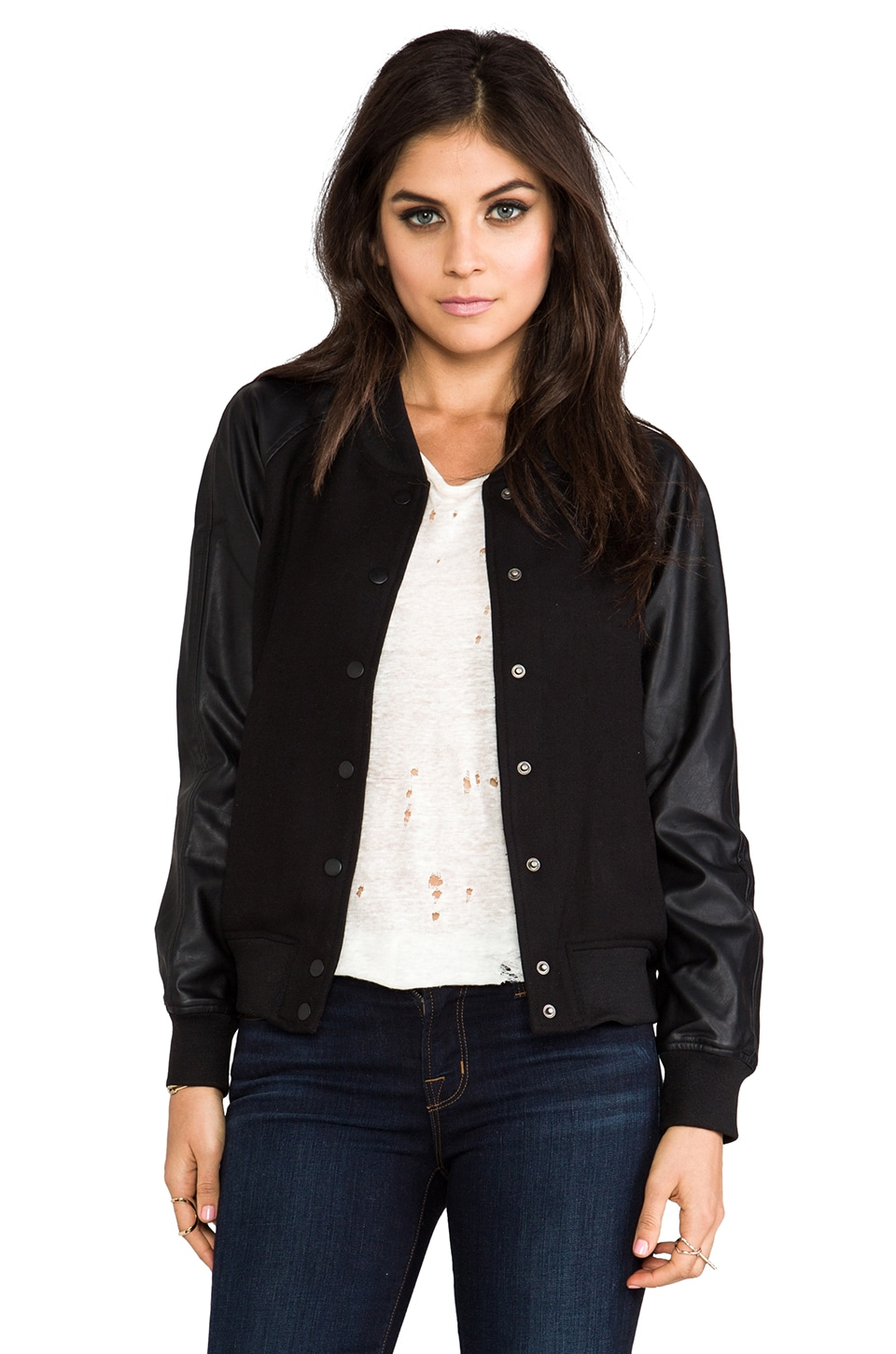 Lovers + Friends Varsity Jacket w/ Vegan Leather Sleeves in Black
