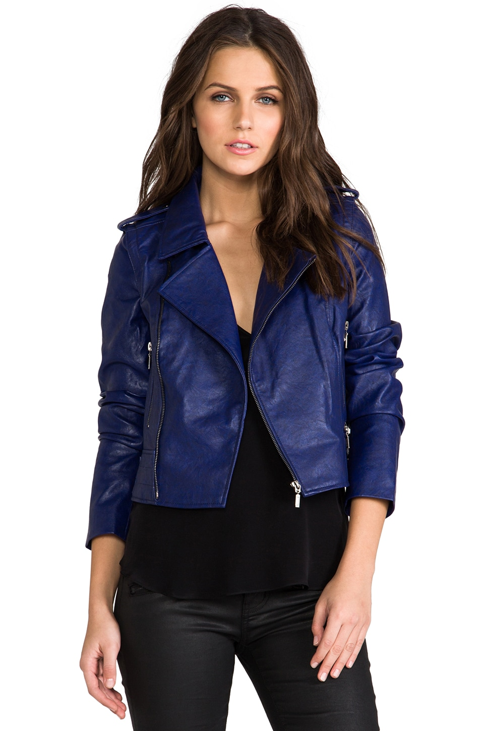 Lovers + Friends All Day Vegan Leather Moto Jacket w/ Removable Sleeves in Navy