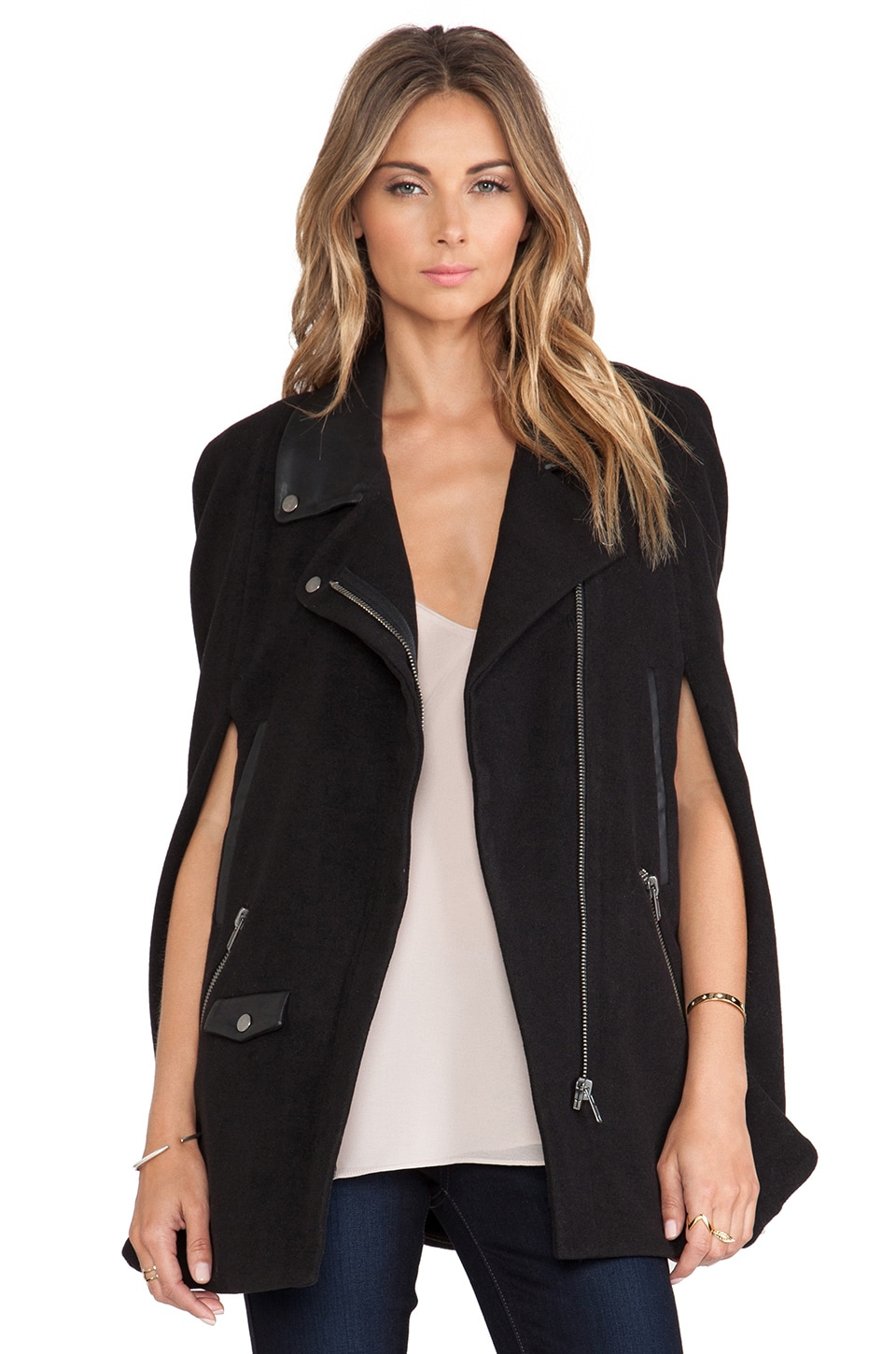 Lovers + Friends Devon Moto Cape in Black