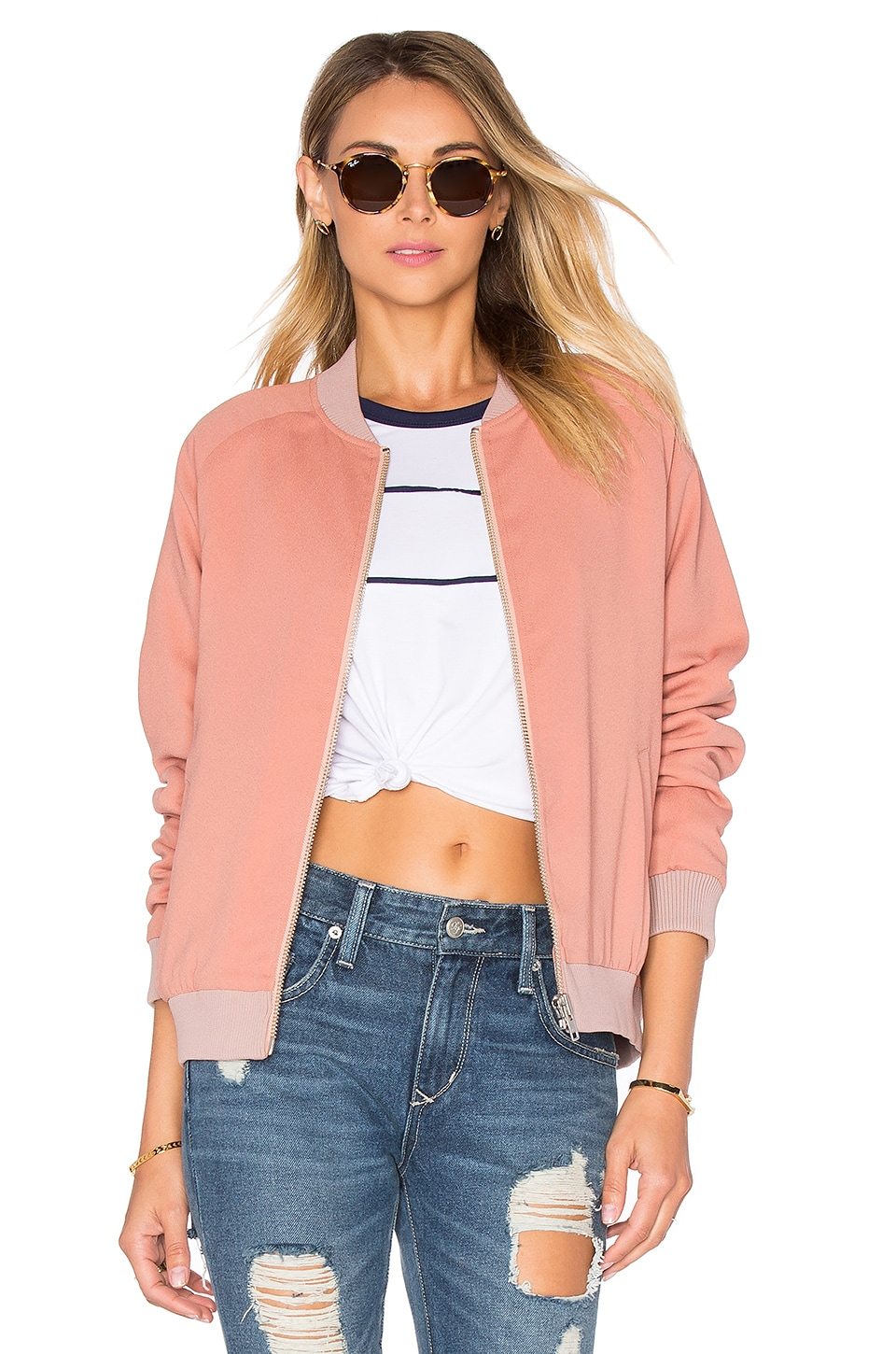 Lovers + Friends Roadtrippin Bomber Jacket in Nude