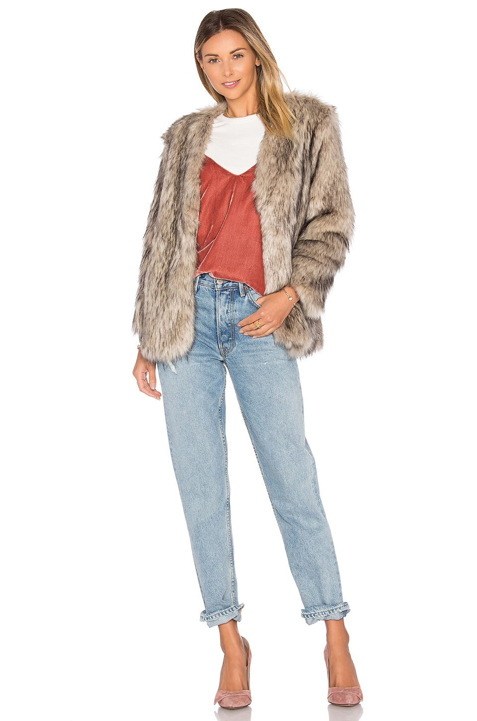 Lovers + Friends Adora Faux Fur Jacket in Tan