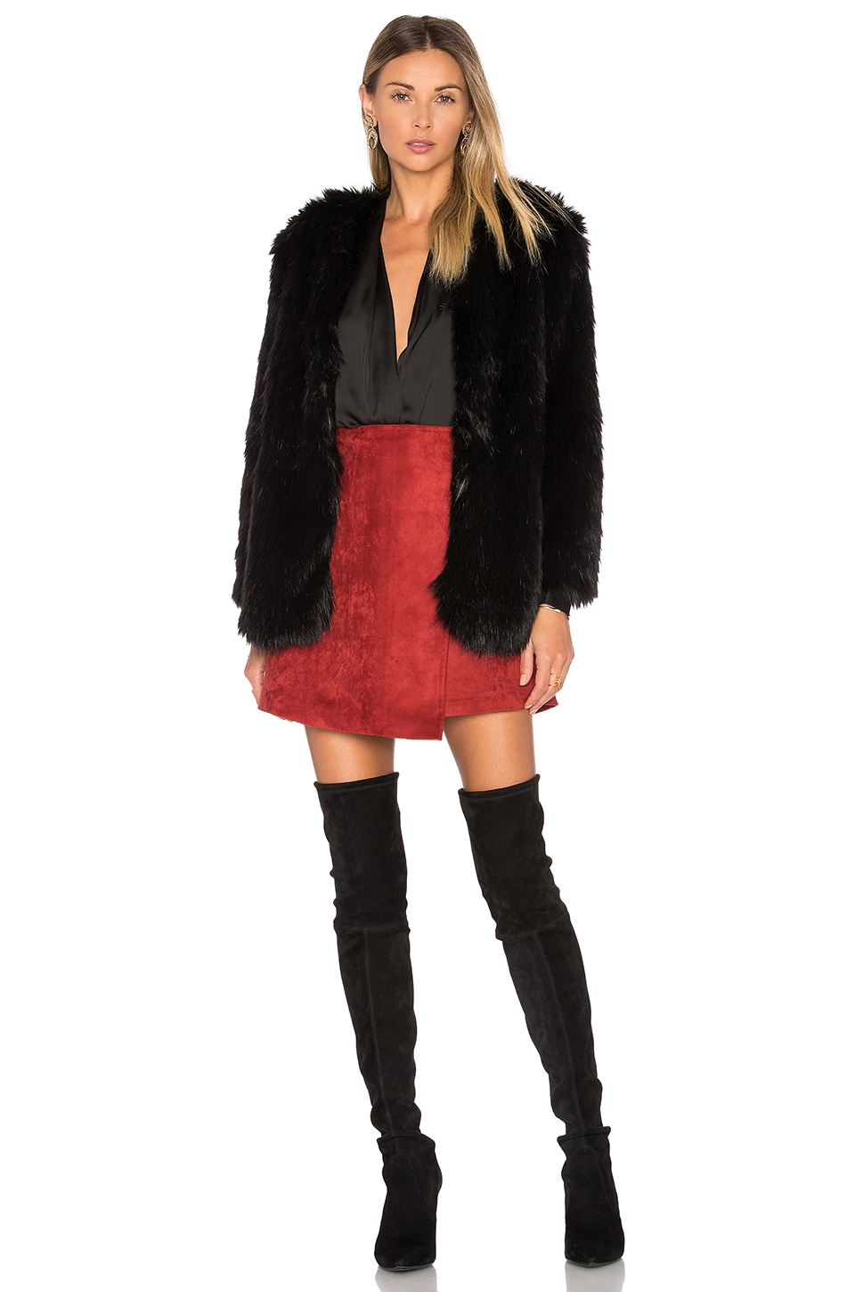 Lovers + Friends Adora Faux Fur Jacket in Black