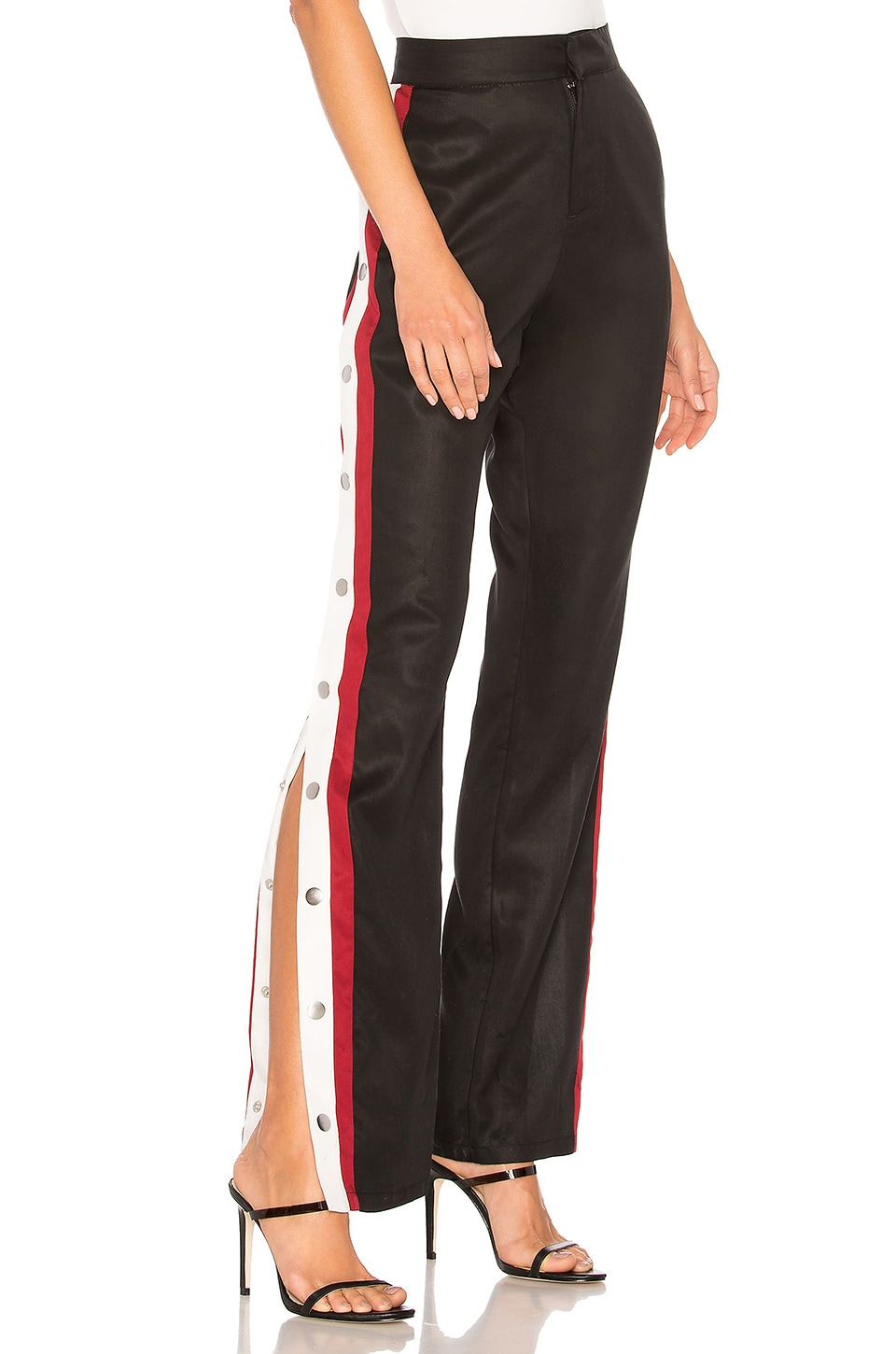 Lovers + Friends Tailored Snap Track Pant in Black