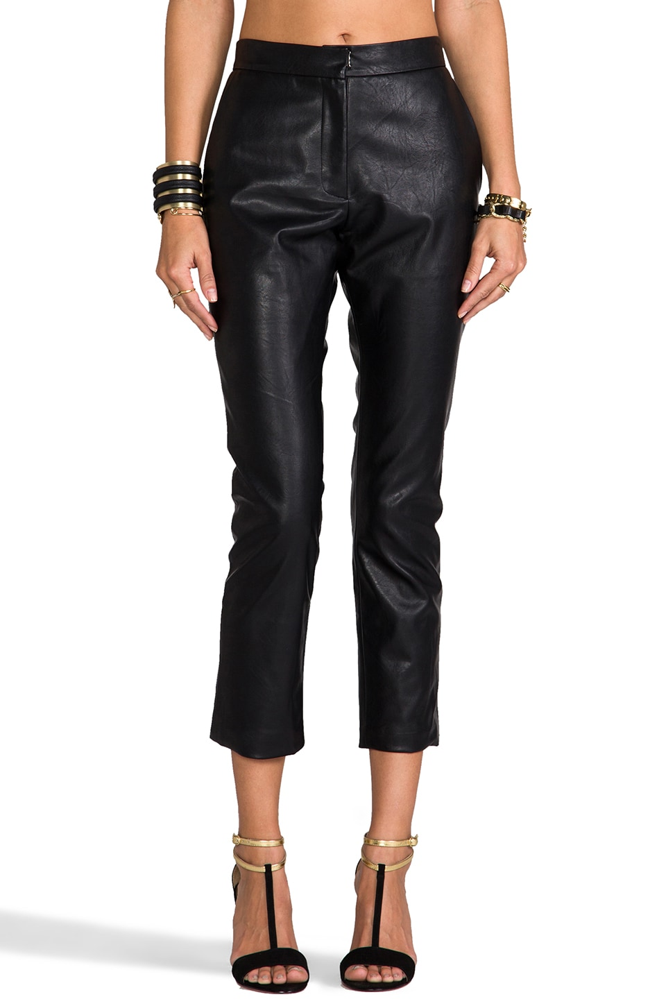 Lovers + Friends Wilson Vegan Leather Trouser in Black