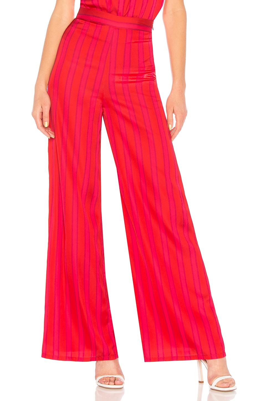 Lovers + Friends Zoey Wide Leg Pant in Lipstick Stripe
